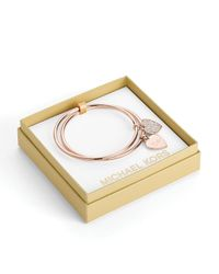 Michael Kors | Pink Signature Heart Heart Bangles with Gift Box | Lyst