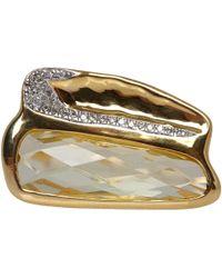 Monica Vinader Metallic Gold Vermeil Riva Diamond Shore Double Ring