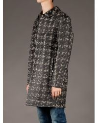 Valentino Black Houndstooth Print Coat for men