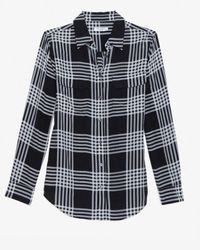 Equipment - Gray Slim Signature Ghost Plaid Blouse - Lyst