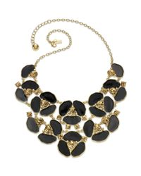 kate spade new york | Metallic New York Necklace Goldtone Disco Daisy and Black Colorado Stone Bib Necklace | Lyst