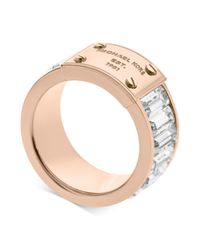 Michael Kors | Pink Rose Goldtone Plaque and Crystal Baguette Ring | Lyst