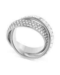 Michael Kors - Metallic Silvertone Pave and Baguette Crisscross Band Ring - Lyst