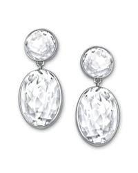 Swarovski Metallic Palladiumplated Clear Crystal Oval Drop Earrings