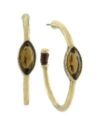 The Sak | Metallic Gold-tone Light Smoky Topaz Stone Hoop Earrings | Lyst