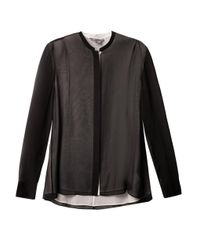 Vince - Black Double Layer Silk Blouse - Lyst