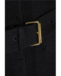 Burberry Brit Black Leather Trimmed Wool Blend Cardigan