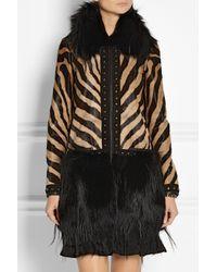 Emilio Pucci - Black Printed Calf Hair Goat and Fox Coat - Lyst