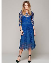 Free People Blue Daisy Chemical Lace Dress