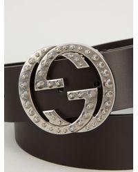 Gucci Brown Studded Buckle Belt for men