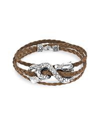 John Hardy | Metallic Naga Triple Wrap Leather Bracelet | Lyst