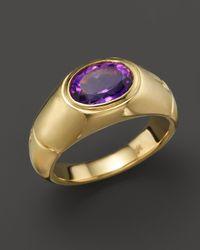 John Hardy - Metallic 18k Gold Bamboo Signet Ring With Amethyst - Lyst