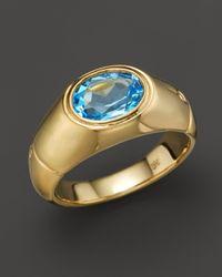 John Hardy Metallic 18k Gold Bamboo Signet Ring With Swiss Blue Topaz