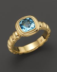 John Hardy | Metallic 18k Gold Bedeg Slim Square Station Ring With Swiss Blue Topaz | Lyst