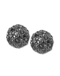 Kenneth Cole | Black Hematite Tone Pave Crystal Ball Stud Earrings | Lyst