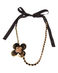 Marni | Brown Flower Chain Necklace | Lyst