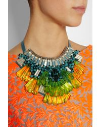 Matthew Williamson Green Opulent Beaded Bib Necklace