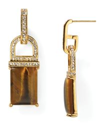 Rachel Zoe | Metallic Square Drop Earrings | Lyst