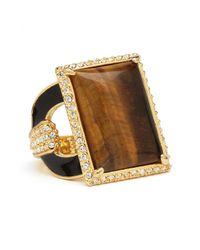 Rachel Zoe Metallic Tigers Eye Square Ring