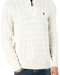 Ralph Lauren Natural Tussah Silk Zipneck Jumper for men