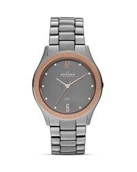 Skagen Metallic Gunmetal Crystal Link Bracelet Watch 385mm