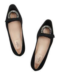 Valentino Black Crystal-Embellished Velvet Ballet Flats