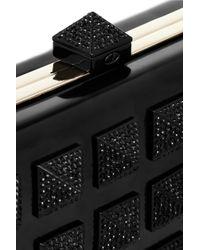 Valentino Black Glam Stud Swarovski Crystalembellished Plexiglass Clutch