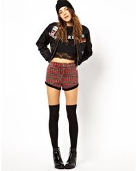 Chinese Laundry Red Lazy Oaf Black Heart Plaid Shorts