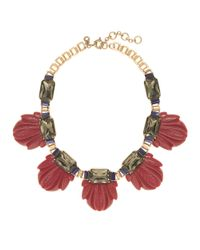 J.Crew Red Fanned Leaf Necklace