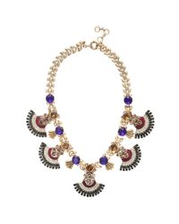 J.Crew | Multicolor Jeweled Fan Necklace | Lyst