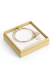 Michael Kors - Metallic Heart Charm Bangle Set Rose Golden - Lyst