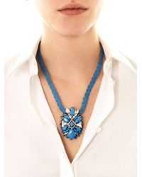Shourouk - Pink Theresa Crystal Embellished Necklace - Lyst