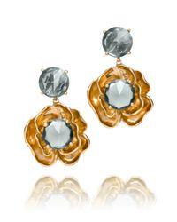 Tory Burch Metallic Crystal Rose Dangle Earrings