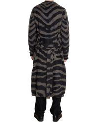 Yohji Yamamoto - Gray Zebra Jacquard Long Cardigan for Men - Lyst