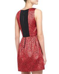 Alice + Olivia - Red Vita Metallic Jacquard Dress Alice Olivia - Lyst