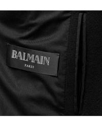 Balmain - Black Double-breasted Long Coat for Men - Lyst