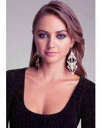 Bebe - Black Rockstar Geometric Earrings - Lyst