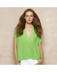 Ralph Lauren Blue Label - Green Short-sleeved Cashmere Sweater - Lyst