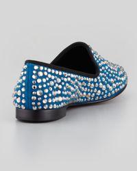 Giuseppe Zanotti Blue Crystal Studded Slipper Cam Montana for men