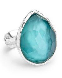 Ippolita Blue Sterling Silver Wonderland Teardrop Ring In Denim