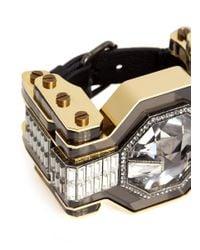 Lanvin | Metallic Crystal Enamel Cuff | Lyst