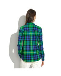 Madewell Green Flannel Boyshirt in Campbell Plaid