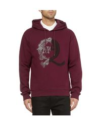 McQ Red Printed Fleecebacked Cotton Jersey Sweatshirt for men