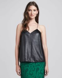 Tibi | Black V-neck Leather Cami | Lyst