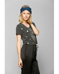 Urban Outfitters - Gray Truly Madly Deeply Embellished Hamsa Cropped Tee - Lyst