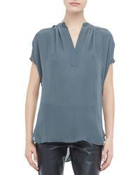 Vince | Blue Silk Short Sleeve Blouse | Lyst
