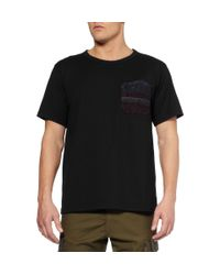 White Mountaineering Black Contrast Pocket Cottonjersey Tshirt for men