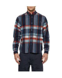 White Mountaineering Blue Check Brushed Cottonflannel Shirt for men