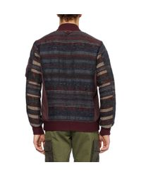 White Mountaineering Brown Patterned Padded Wool-Blend Bomber Jacket for men