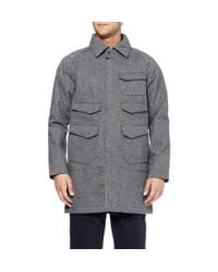 White Mountaineering Gray Patterned Wool-Blend And Canvas Hooded Coat for men
